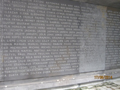 Bełżec - tablica z imionami